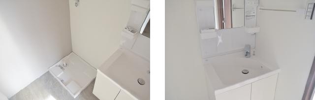 独立洗面所にある独立洗面台と洗濯機置き場 広島中区のデザイナーズDOLCE竹屋町