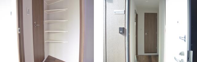 コンパクトですっきりとした玄関 広島中区のデザイナーズDOLCE竹屋町