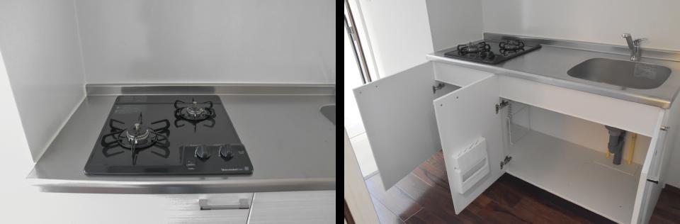 清潔感のあるホワイトのキッチンのガスコンロと収納