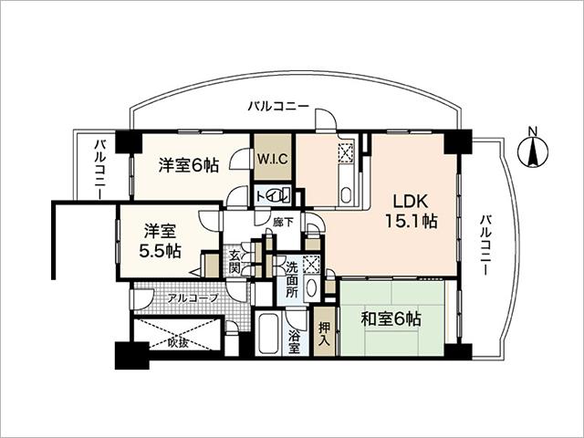 12階角部屋の間取り図
