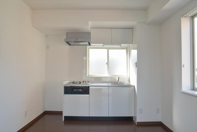 広い、キッチン、システムキッチン、コンロ2口、グリル有