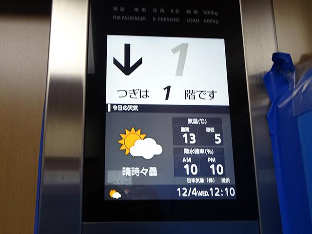 今日のお天気と気温・降水確率を教えてくれるエレベーター